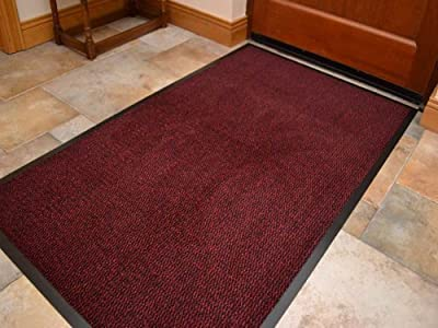 Extra Large Big Dark Red Hardwearing Heavy Duty Black PVC Edge Pile Top Rubber Barrier Entrance Door Kitchen Utility Dust Floor Mats Rugs 90cm x 150cm - cheap UK light store.