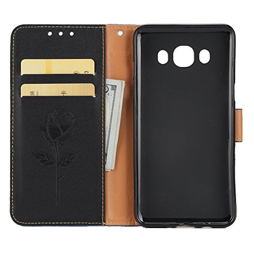 Dual Color Matching Premium PU Leder Flip Stand Case Cover mit Card Cash Slots und Lanyard für Samsung Galaxy J310 ( Color : Blue ) Black
