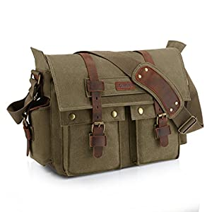Kattee British Style Retro – Canvas Messenger de piel bolsa de Traval compatible con 15 inch Laptop
