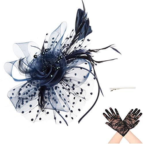 Fascinator Blume Netzmütze Feder Mesh Netz Schleier Tea Party Derby Hut mit Clip und Haarband für Frauen und Handschuhe (A6-Navy) (Navy Anzug Tragen)