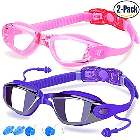 Swimming Goggles, Pack of 2, Swim Glasses for Adult Men Women Youth Kids Children, with Anti-Fog, Waterproof, UV 400 Protection Lenses, Made by COOLOO, Purple /