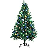 Amzdeal Weihnachtsbaum, Künstlicher Weihnachtsbaum Tannenbaum Christbaum mit 4 Farben 250 LED und 8 Leuchtmodi, 180 CM