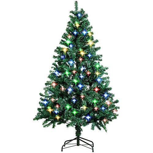 Amzdeal Árbol de Navidad artificial con brillante LED 4 colores, brillante árbol...
