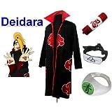 Naruto Akatsuki Deidara Cosplay Kostüm Set (Akatsuki Cloak,Größe:M: Höhe 159cm-168cm + Deidara Stirnband + Deidara Ring + Naruto Federmäppchen)