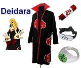 SUNKEE Traje de Cosplay para cosplay Naruto Akatsuki Deidara Ninja Set- Capa (S:Tamaño 150cm-158cm)+caja de lápiz+Deidara diadema+anillo+zapatos