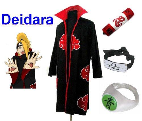 Kostüm Deidara Naruto Cosplay - Naruto Akatsuki Deidara Cosplay Kostüm Set (Akatsuki Cloak,Größe:M: Höhe 159cm-168cm + Deidara Stirnband + Deidara Ring + Naruto Federmäppchen)