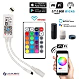 Mini Wifi/APP (Apple iOS/Android System) Kontroller mit 24 Tasten IR Fernbedienung DC 5V-28V für RGB LED Streifen Licht von LinkSquare
