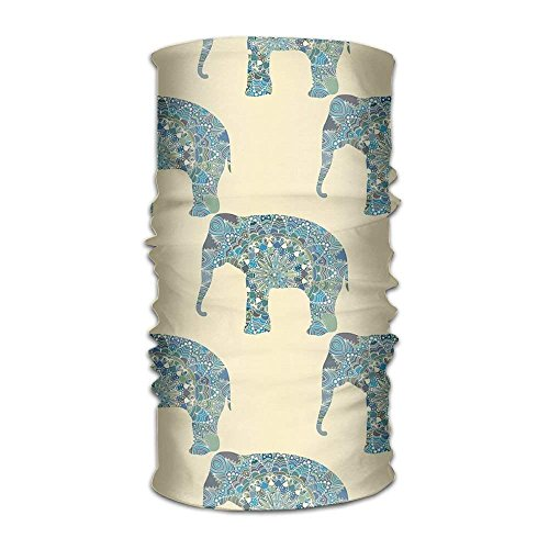 HAILAN Unisex Stylish Indian Elephant Quick Dry Microfiber Headwear Outdoor Magic Bandana Neck Gaiter Head Wrap Headband Scarf Face Mask Ultra Soft Elastic Handscarf 19.7x9.85(Inch)/50x25(cm)
