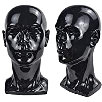 ‏‪Bright Black Mannequin Head Cosmetology Male Training Head Model Hat Wig Glasses Headset Jewelry Display Stand‬‏