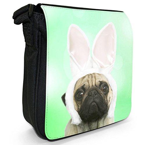Carlino in orecchie di coniglio piccolo nero Tela Borsa a tracolla, taglia S Green - Pug In Rabbit Ears