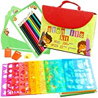 Drawing Stencils for Kids Kit & Carry Case - Child-Safe, Non-Toxic Stencil Set with 280+ Shapes, Colored Pencils, Paper, Etc. - Travel Art Supplies for Creativity, Learning, Fun by Art with Smile