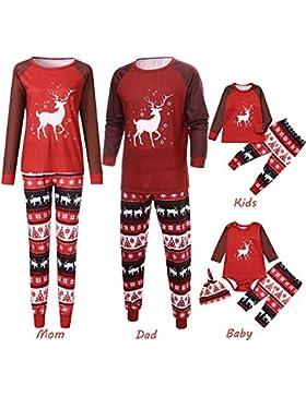Weihnachten Familie Pyjama FRAUIT Nachtwäsche Schlafanzug Sets Eltern/Pap/Mutter/Kind/Baby -Karikatur-Rotwild-Druck-Spielanzug...