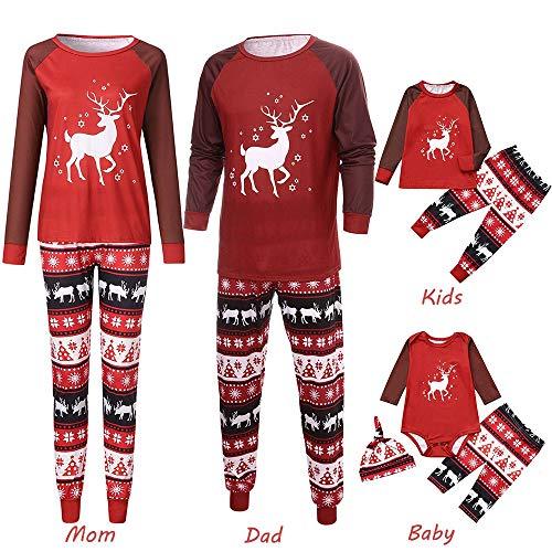 (Weihnachten Familie Pyjama FRAUIT Nachtwäsche Schlafanzug Sets Eltern/Pap/Mutter/Kind/Baby -Karikatur-Rotwild-Druck-Spielanzug + Hosen + Hut-Familien-Kleidung)