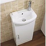 ValueBaths Linx Meuble de salle de bain avec lavabo et armoire Céramique 400mm Blanc brillant