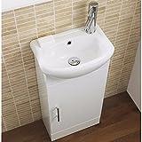 VeeBath Linx 400mm White Gloss Bathroom Cloakroom Furniture Compact Vanity Unit Cabinet With Ceramic Basin