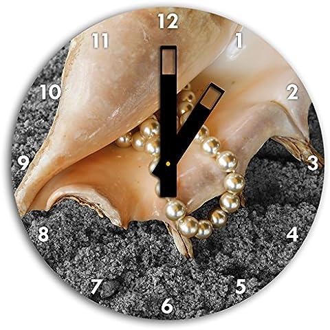 Shell con collana di perle sulla sabbia nera / bianca, orologio da parete diametro 30 centimetri con il nero quadrato le mani e il viso, oggetti decorativi, Designuhr, composito di alluminio molto bello per soggiorno,
