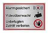 Schild Alarmgesichert Videoüberwacht Unbefugten Zutritt verboten | Silber gebürstet, Edle Optik | stabiles Alu Schild mit UV-Schutz 30 x 20 cm | Alarmanlage Kameraüberwacht | Dreifke®