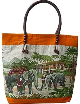 Fein gewebte Handtasche aus Baumwolle mit Elefanten