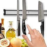 El soporte magnético de cuchillos ahorra espacio - Mantiene los cuchillos organizados - Tiene un imán muy potente - Es fácil de instalar - Tiene un diseño elegante - Es perfecto para mantener los cuchillos fuera del alcance de los niños - Hecho con los materiales de la calidad más alta - No se oxida (45 CM)