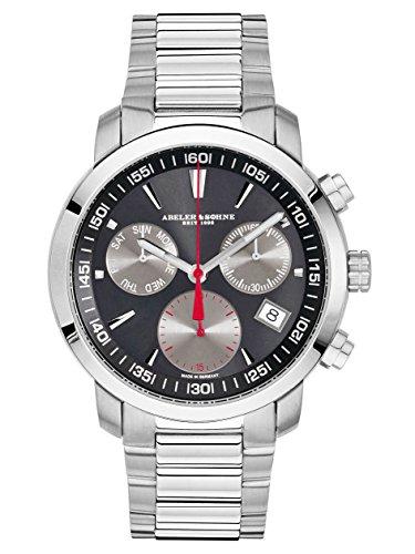 Abeler & Söhne fabricado en Alemania Reloj de hombre con cronógrafo, cristal de zafiro y metal banda as2693m