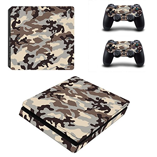 Morbuy Ps4 Slim Skin Consola Design Foils Vinyl Pegatina Sticker And 2 Playstation 4 Slim Dualshock Controlador Skins Set (Blue-Grey Camo)