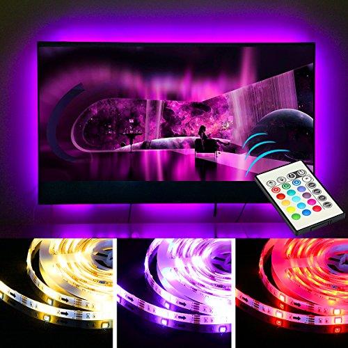 TV Lichter USB LED Fernseher Beleuchtung Streifen Licht für 65 70 Zoll TV Hintergrund Streifen Licht Dekor 20 Farb Optionen Dimmbar mit Fernbedienung (Farb-tv 20)