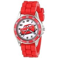ساعة يد تناظرية للأطفال مع غلاف بلون فضي، حافة حمراء، حزام أحمر - شخصية مكوين الرسمية على القرص، ساعة مدرس الوقت، آمنة للأطفال - الموديل: CZ1009