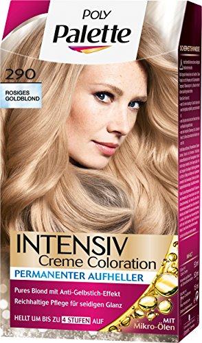 Poly Palette Intensiv Creme Coloration, 290 Rosiges Goldblond Stufe 3, 3er Pack (3 x 115 ml)
