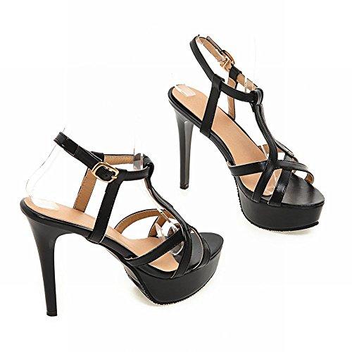 Mee Plateau Heels High Slingback Shoes Damen Sandalen Schwarz 6TqWr6zv