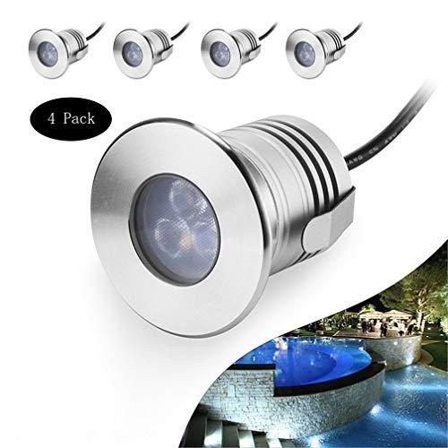 LHY LIGHT 4-Pack LED Unterwasserschwimmbecken Beleuchtung, 3W vertiefter Schritt Licht 12V-24V DC IP68 wasserdichte Edelstahl-Wandleuchte für Inground Pools Teiche,Warmwhite
