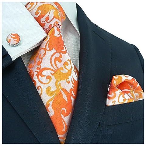 Landisun Paisleys Mens Silk Tie Set: Necktie+Hanky+Cufflinks 88F Silver Orange, 3.25