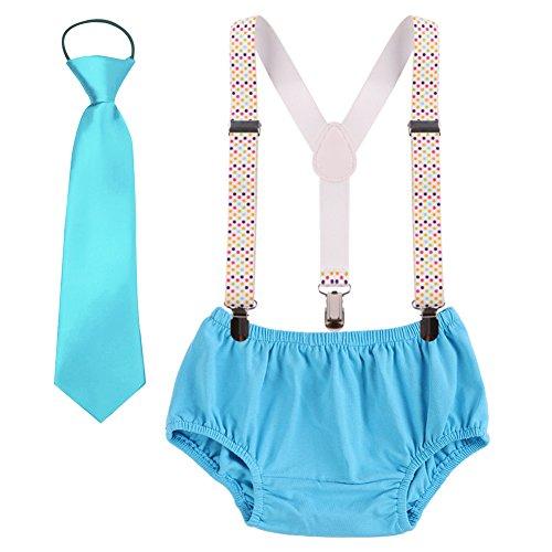 Geburtstag Outfit Neugeborenen Kinder Bloomer Shorts + Krawatte + Clip-on Hosenträger 3pcs Bekleidungssets für Foto-Shooting Kostüm für Unisex Säugling Jungen Mädchen 3-24 Monate (Jungen Clip-on-krawatten)