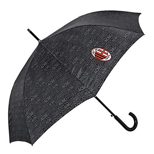 Ombrello classico nero ac milan automatico da uomo donna con logo ufficiale - ombrello di alta qualità grande rosso e nero rossonero con dettagli grigi - diametro 116 cm - perletti