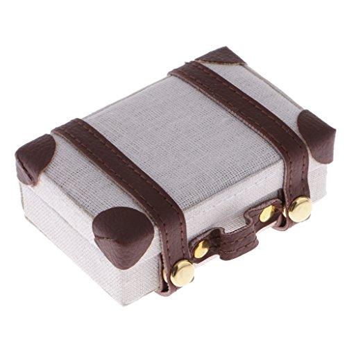 MagiDeal 1/6 Puppenhaus Mini Vintage Koffer Gepäck Reisekoffer mit Snap-In Schnalle - 7,5 x 5 x 2,8 cm - Weiß
