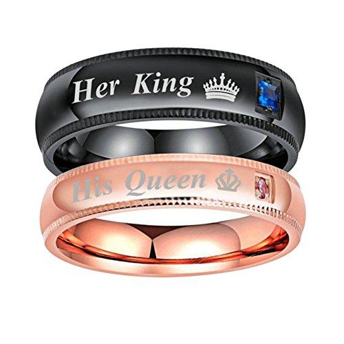 Coniea 4MM Anello Uomo Fidanzamento Her King e His Queen Anelli Oro Rosa Donna Taglia 22