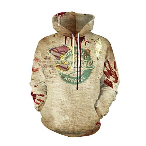 Xinwcang Unisex Slim Fit Kapuzenpullover Druck Sweatshirt Pullover Halloween Teufel Kürbis Gesicht Drucken Top Als Bild0 XL