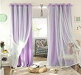 Nibesser 2er Set Prinzessin Vorhänge 2 Schichten Blickdicht Gardinen Verdunklungsvorhang mit Ösen für Schlafzimmer Kinderzimmer (175cmx140cm, Lila)