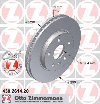 ZIMMERMANN 430.2614.20 Bremsscheibe Scheibenbremsen, Bremsscheiben (x2)