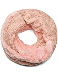 styleBREAKER écharpe ronde à mailles fines chaude avec motif tresse et  doublure intérieure en polaire très 607b1d50896