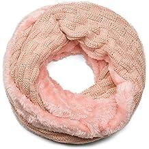 styleBREAKER écharpe ronde à mailles fines chaude avec motif tresse et  doublure intérieure en polaire très 3695bf35815