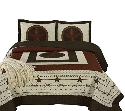 Chezmoi Collection Tucson 3-Teilig Western Star Kabine Lodge Design Soft-Washed Quilt Set King Beige - Western Living Collection