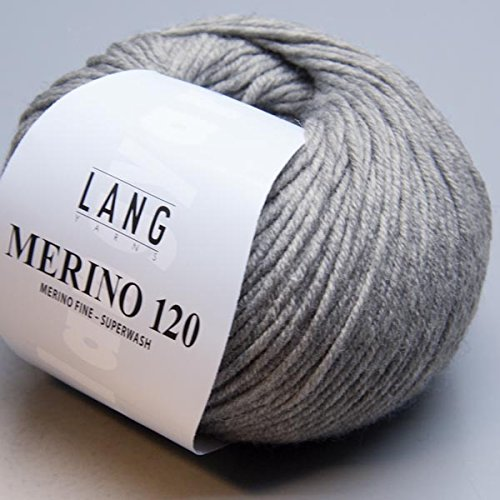 LANG YARNS Merino 120 - Farbe: Grau Melange (0324) - 50 g / ca. 120 m Wolle -