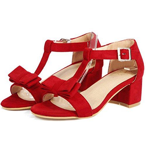 Oasap Women's Open Toe Bow T-strap Block Heels Sandals Red