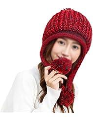 Fablcrew Sombrero de Punto de Invierno Punto Doble Proteger las Orejas Rojo