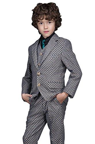 ungen Anzug Smoking Karierten Zwei Knopf Formalen Kleid Klage Satz Als Bild 7-8 Jahre 130CM (Karierten Anzug)