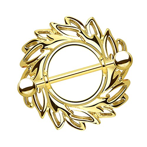 Piersando Brustwarzen Piercing Intimpiercing Nippelpiercing Brust Nippel Intim Brustwarzenpiercing Barbell mit Tribal Wirbel Schild Gold