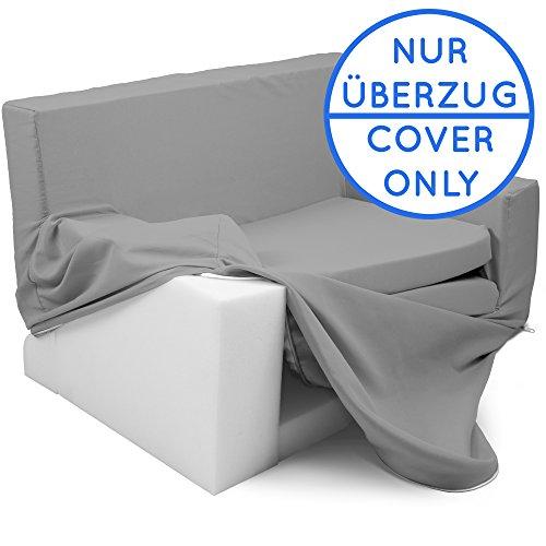 Wechselbezug für 2 in 1 Kindersofa mit Bettfunktion in Silbergrau - Weich & Sicher Auffalt Matratze für Kinder von 1 - 4 - TV Kindercouch Sessel Schaumstoff Stuhl Möbel Ausziehbett zum Schlafen
