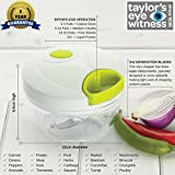 from Taylors Eye Witness Hand Chopper Manual Food-Processor - Pull String to Slice Vegetables, Onions, Garlic, Meat, Nuts in Seconds - Curved Stainless Steel Removable Blades, Non-Slip Base, BPA-Free, Dishwasher-safe. (400ml)