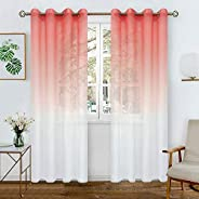 BGment Faux Linen Ombre Sheer Curtains for Living Room, Grommet Semi Voile Light Filtering and Privacy Curtains for Bedroom,