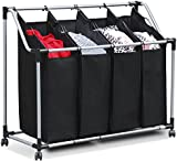 tinkertonk Black Laundry Trolley, With 4 Removable Laundry Sorter